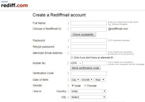 RediffMail Sign Up