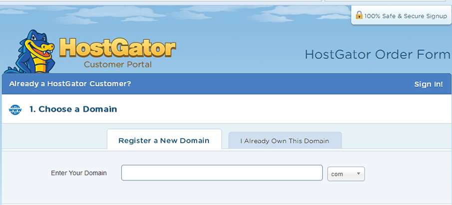 Hostgator.com hosting - How to buy web hosting from Hostgator -enter a domain name
