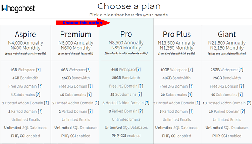 Whogohost Web Hosting Plans